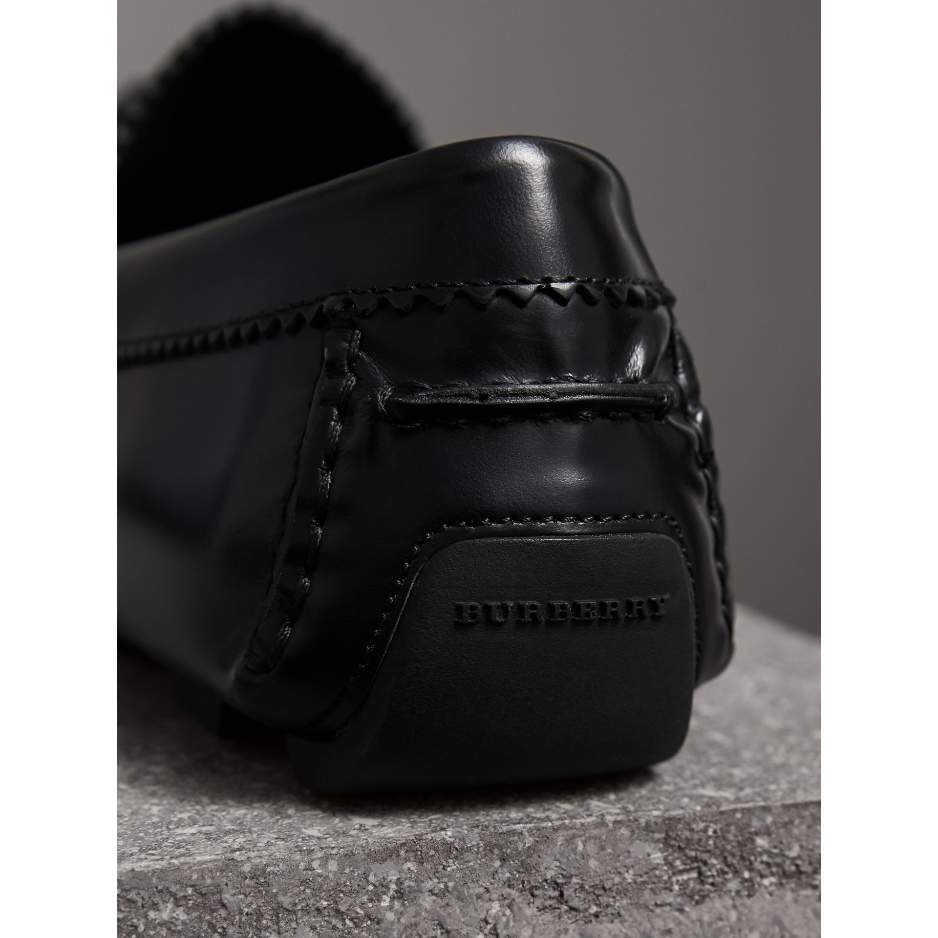 Tasselled Polished Leather Loafers in Black - Men | Burberry - gallery image 3
