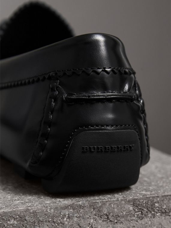 Tasselled Polished Leather Loafers in Black - Men | Burberry - cell image 2