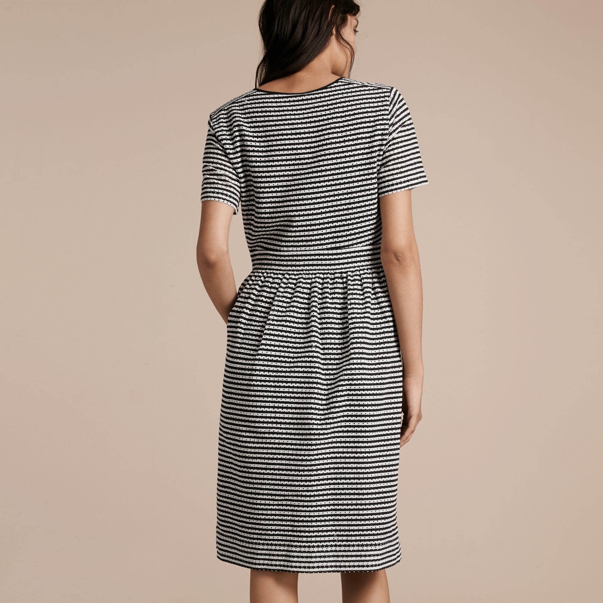 Black Striped Cotton Broderie Dress - gallery image 3