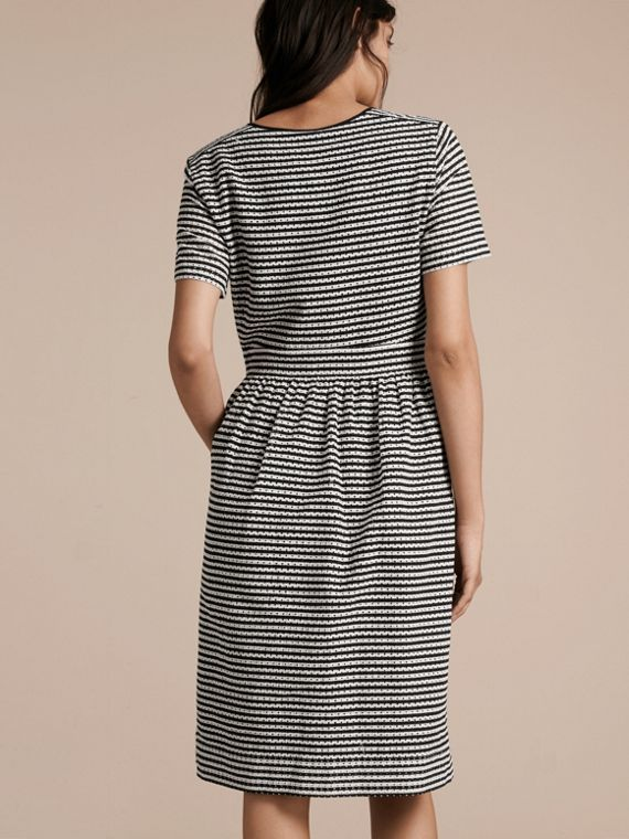 Black Striped Cotton Broderie Dress - cell image 2