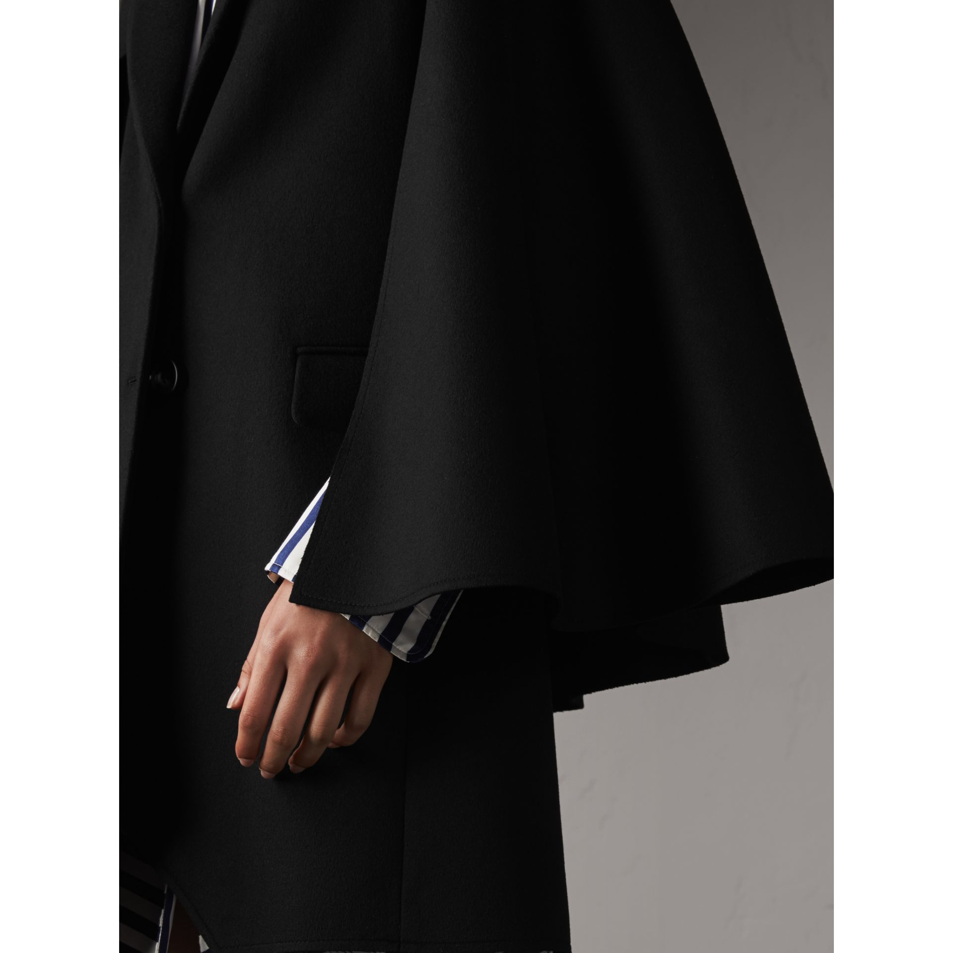Double-faced Wool Cape Coat in Black - Women | Burberry - gallery image 5