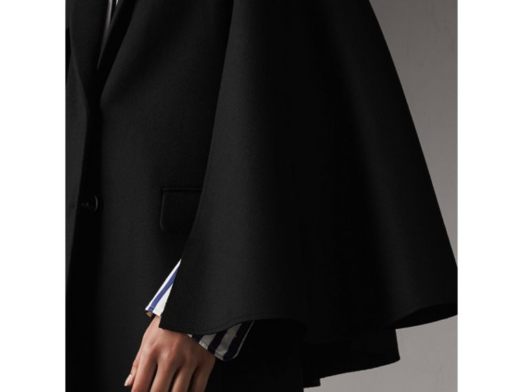 Double-faced Wool Cape Coat in Black - Women | Burberry - cell image 4