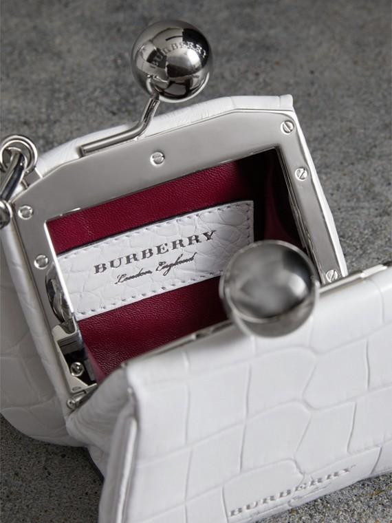 Mini Alligator Metal Frame Clutch Bag in White - Women | Burberry United Kingdom - cell image 3