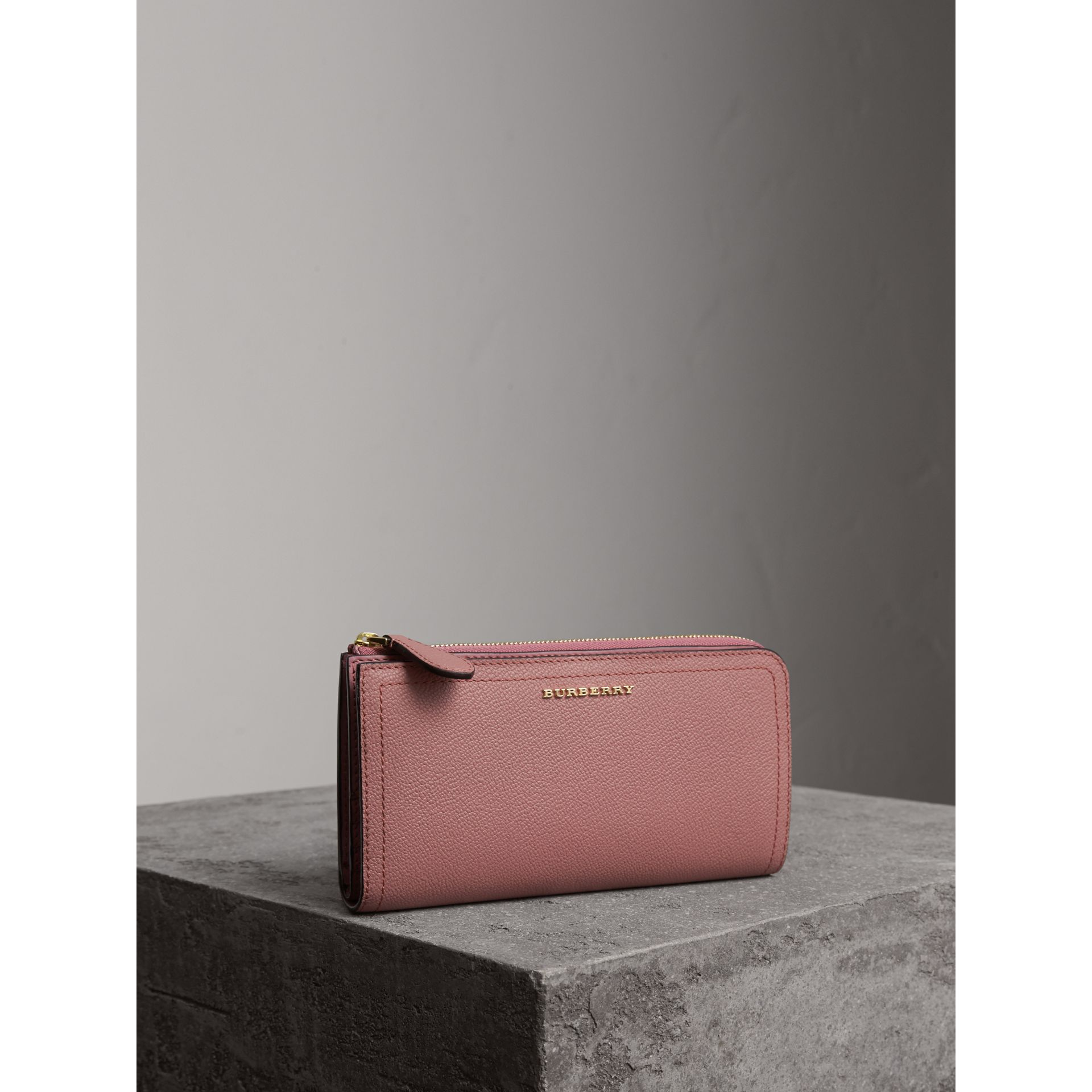 Grainy Leather Ziparound Wallet in Dusty Pink - Women | Burberry United States - gallery image 1