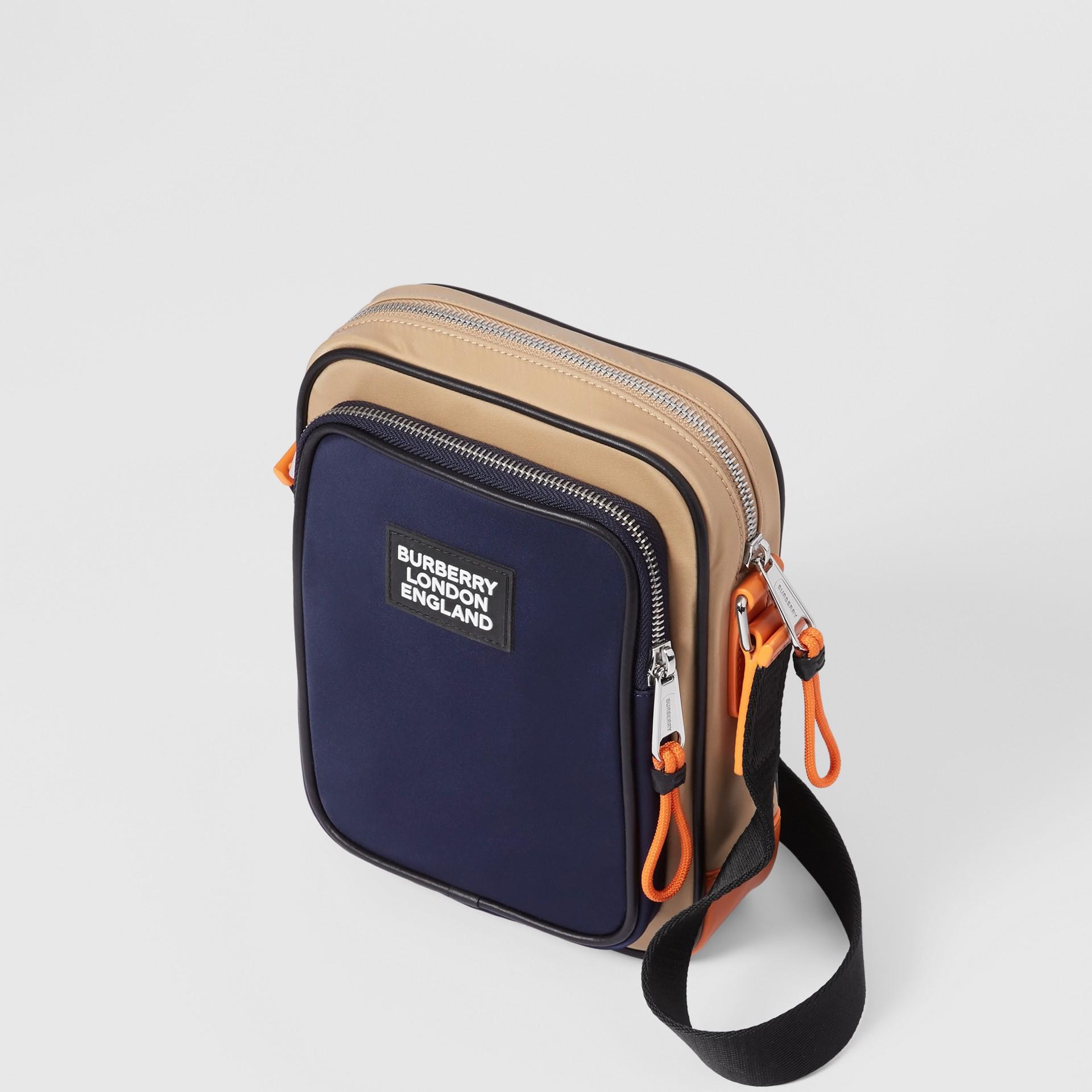 Logo Appliqué Two-tone ECONYL® Crossbody Bag in Regency Blue/bright Orange - Men | Burberry United Kingdom - gallery image 3