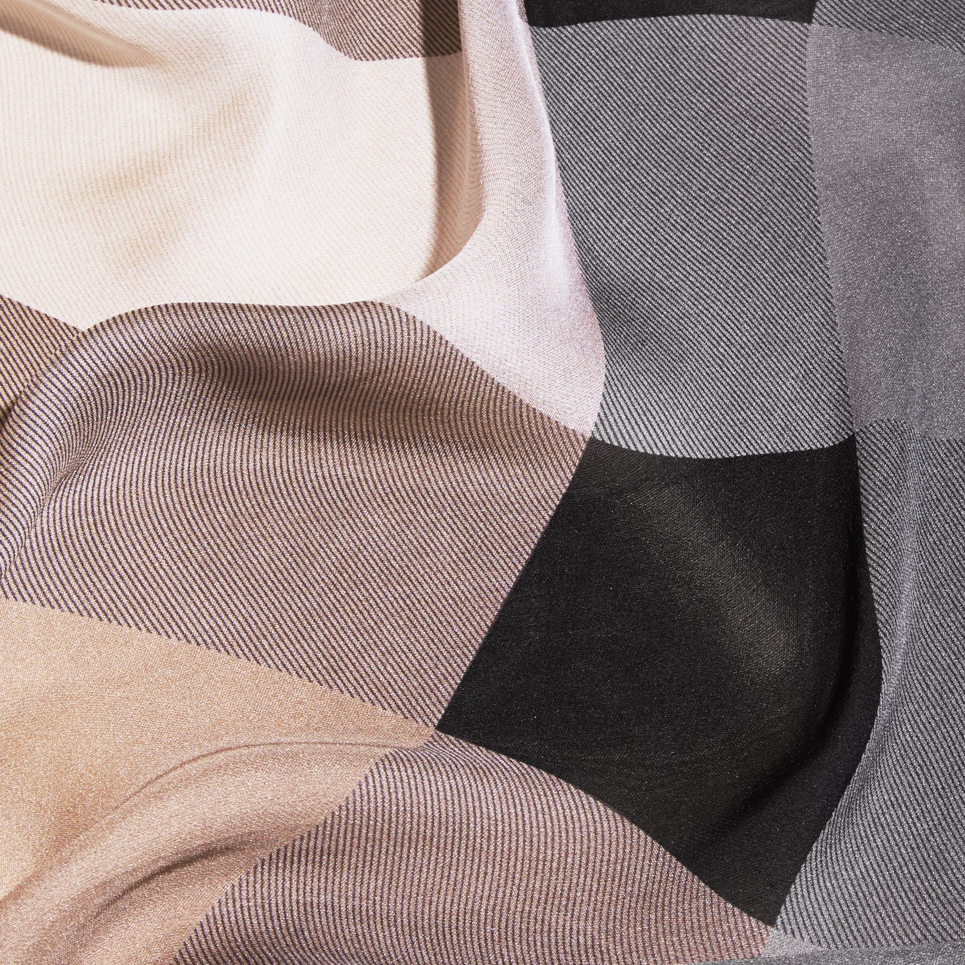 Ombré Washed Check Silk Scarf in Camel/black - gallery image 2