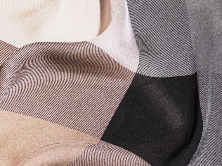 Ombré Washed Check Silk Scarf in Camel/black - Women | Burberry - cell image 1