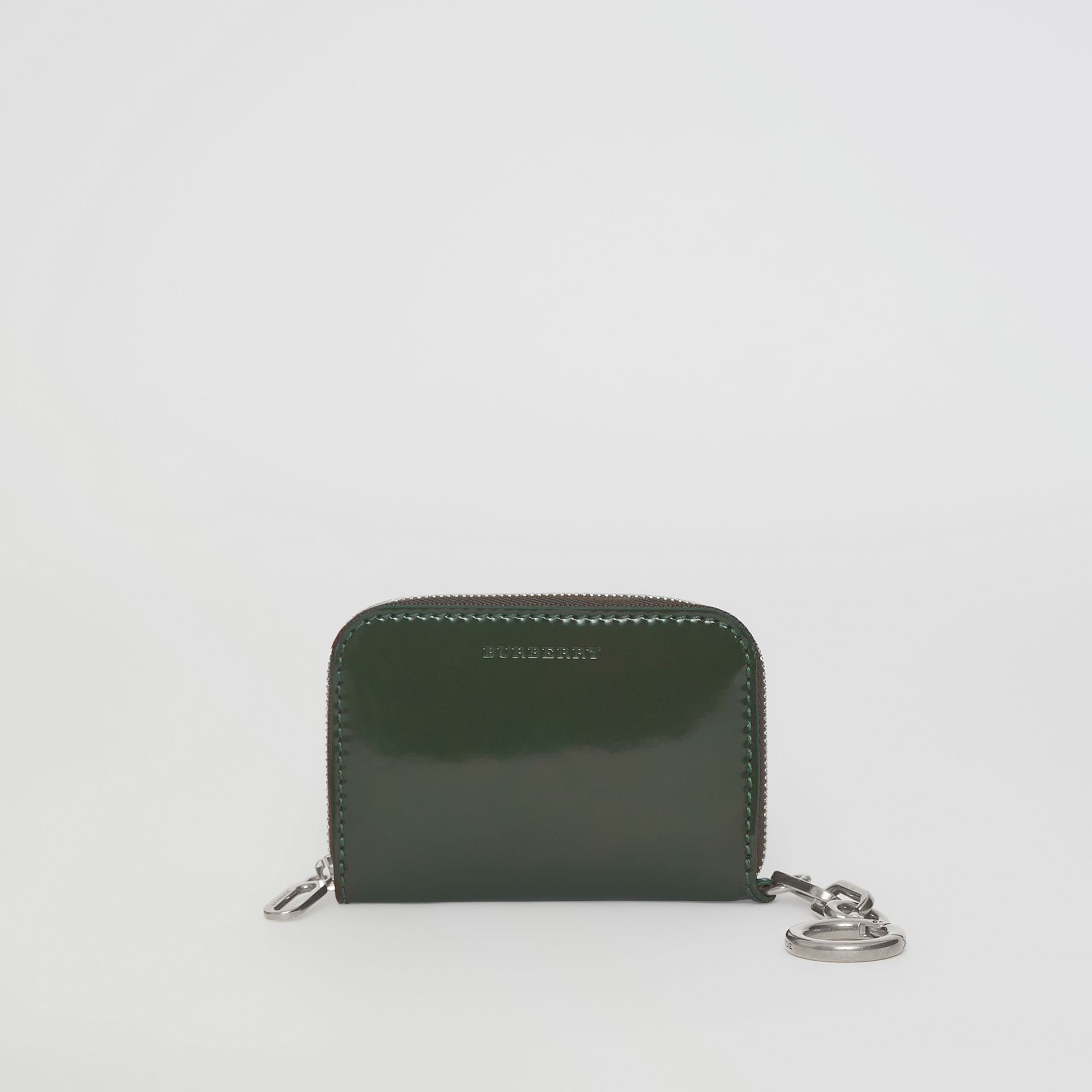 Link Detail Patent Leather Ziparound Wallet in Dark Forest Green - Women | Burberry United Kingdom - gallery image 2