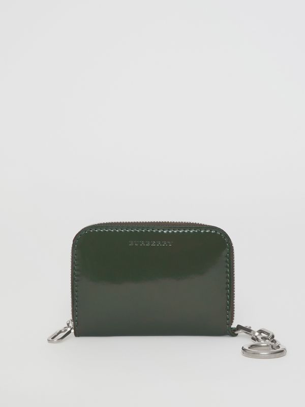 Link Detail Patent Leather Ziparound Wallet in Dark Forest Green - Women | Burberry Singapore - cell image 2