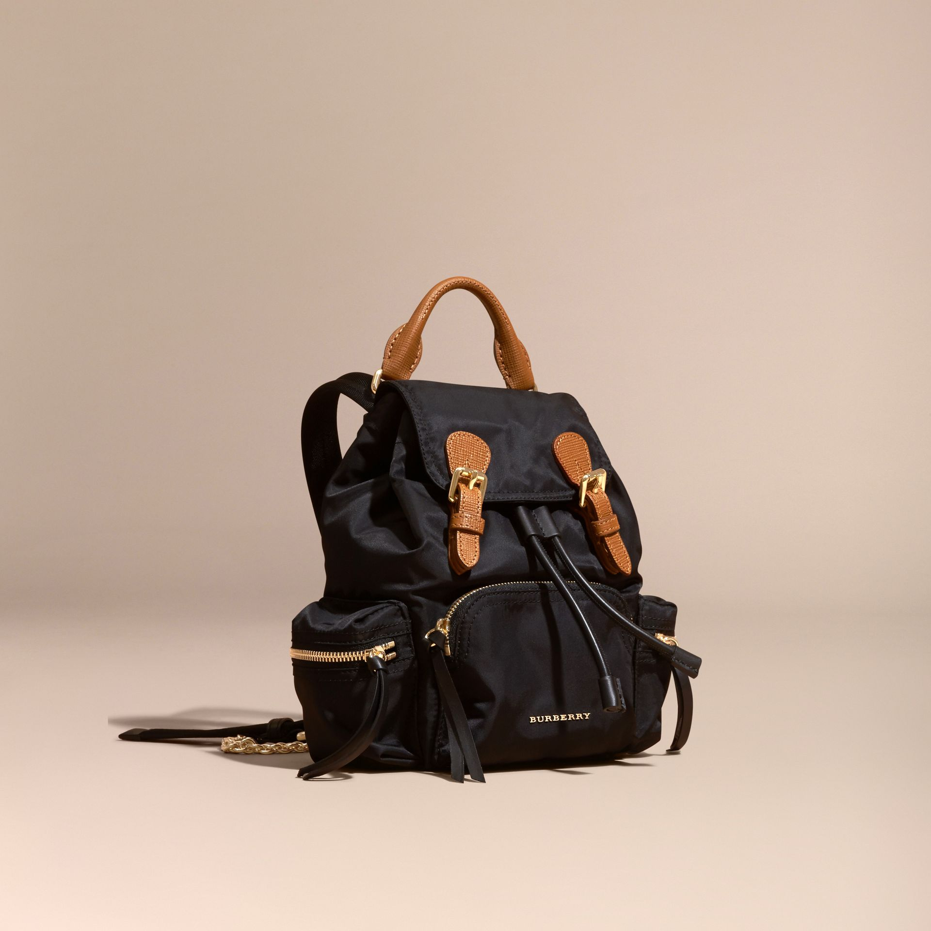 The Small Rucksack in Technical Nylon and Leather Black - gallery image 1