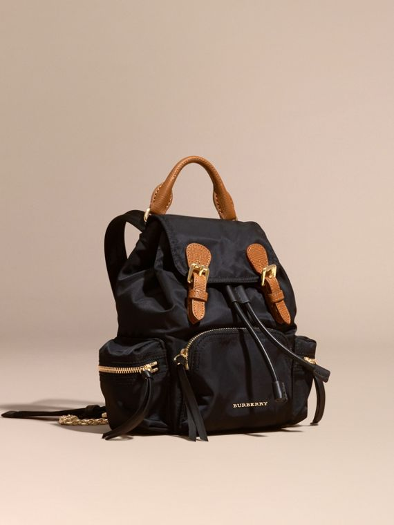 The Small Rucksack in Technical Nylon and Leather Black