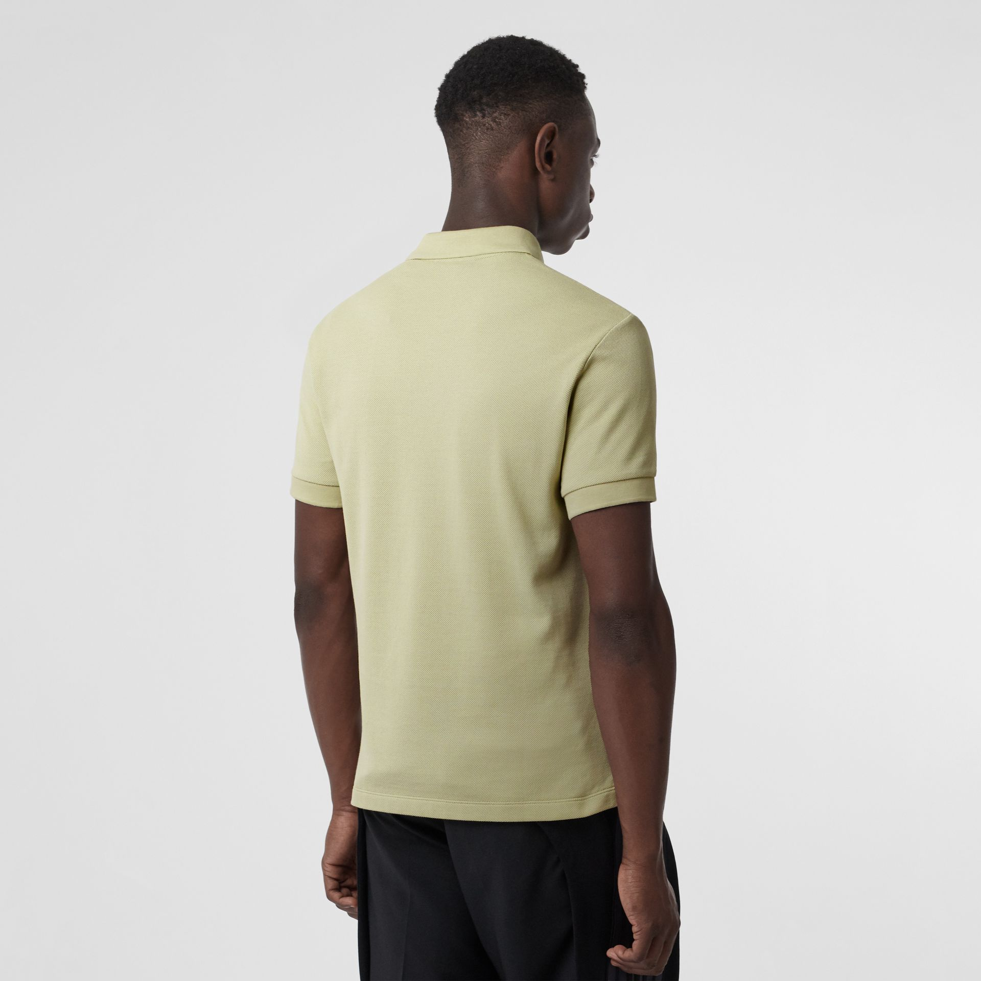 Check Placket Cotton Polo Shirt in Pale Apple Green - Men | Burberry - gallery image 2