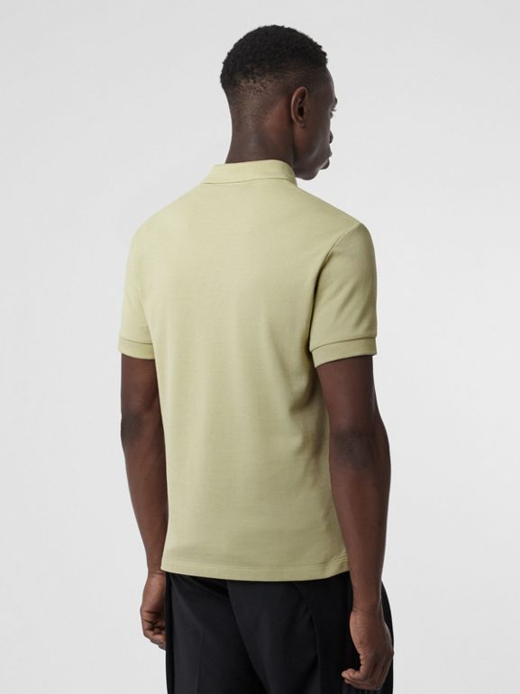 Check Placket Cotton Polo Shirt in Pale Apple Green - Men | Burberry - cell image 1
