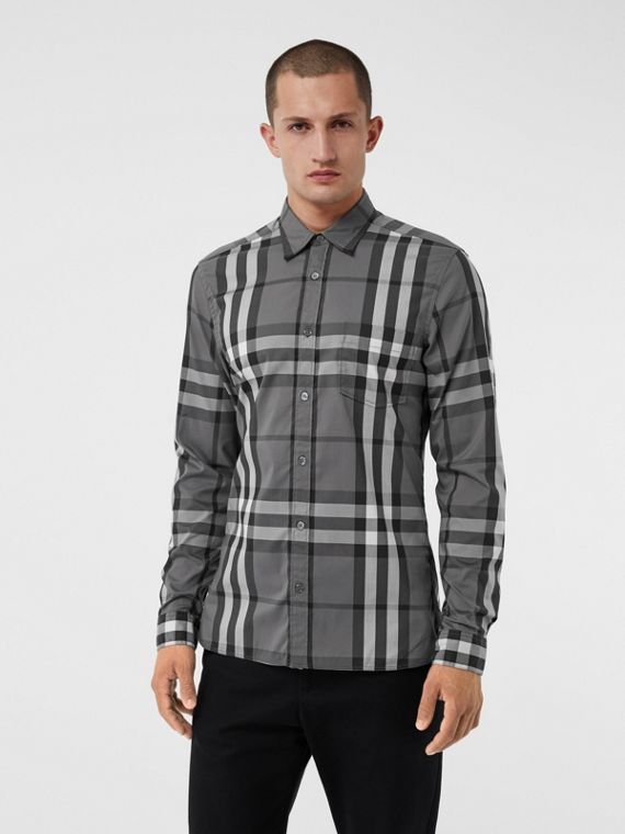 Check Stretch Cotton Shirt in Charcoal
