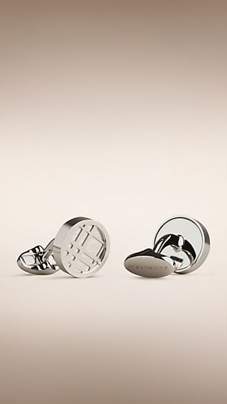 Check Engraved Round Cufflinks