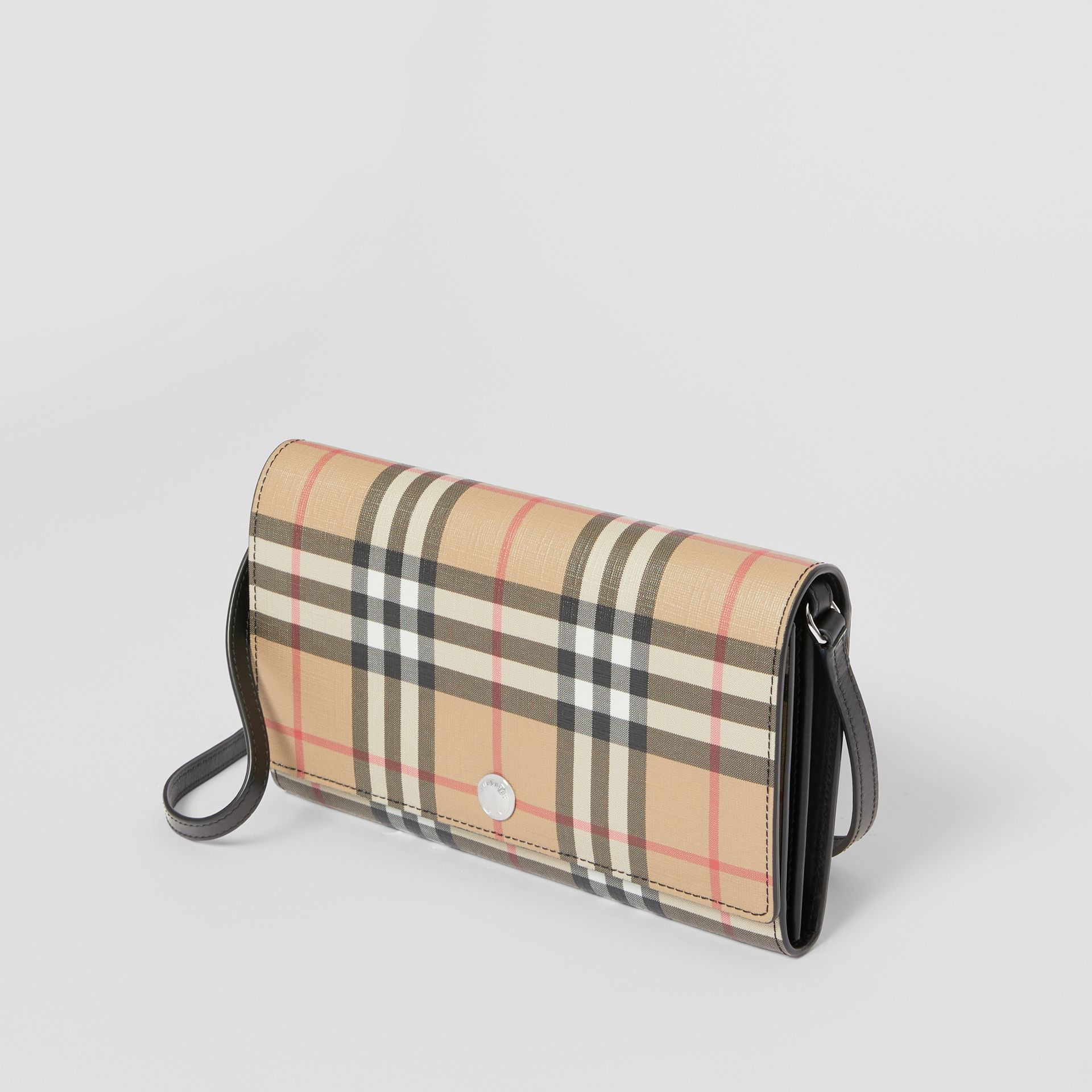 Vintage Check E-canvas Wallet with Detachable Strap in Black - Women | Burberry United States - gallery image 3