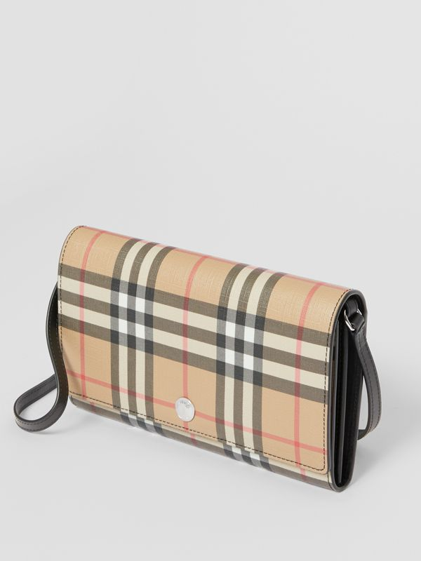 Vintage Check E-canvas Wallet with Detachable Strap in Black - Women | Burberry United States - cell image 3