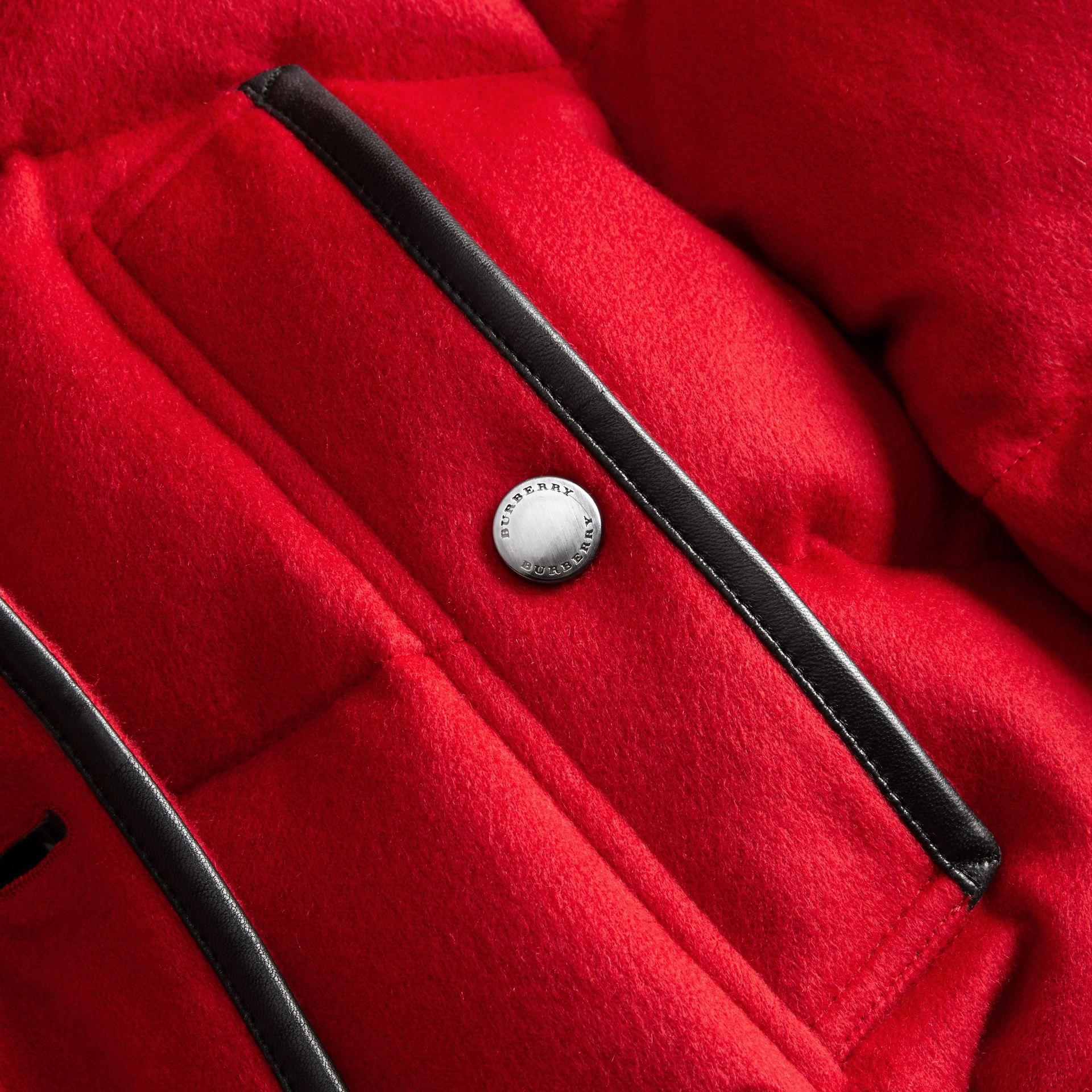 Down-filled Cashmere Coat with Detachable Fur Trim in Parade Red - gallery image 2