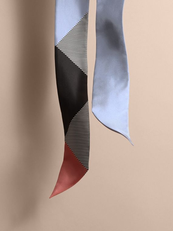 Colour Block and Striped Silk Slim Scarf in Pale Bluebell - Women | Burberry - cell image 3