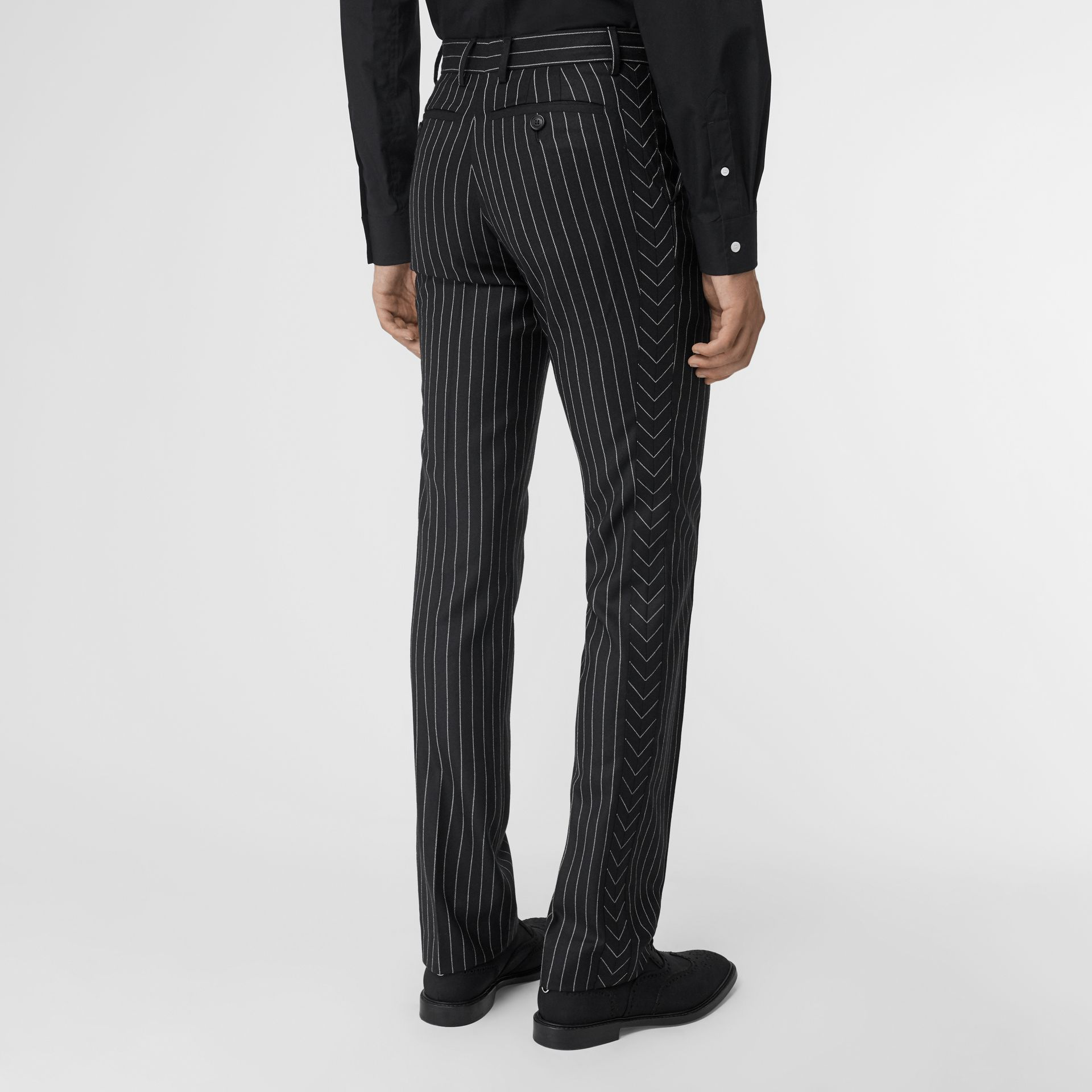 Classic Fit Pinstriped Wool Tailored Trousers in Black/white | Burberry Singapore - gallery image 2