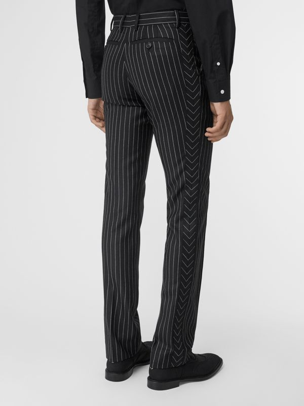 Classic Fit Pinstriped Wool Tailored Trousers in Black/white | Burberry Singapore - cell image 2
