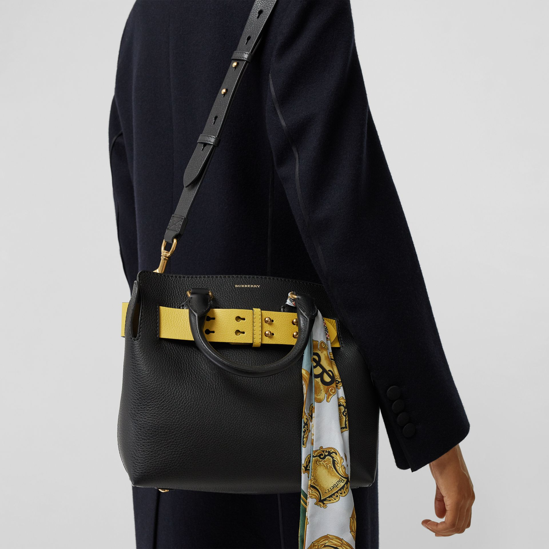 The Small Leather Belt Bag in Black/yellow - Women | Burberry Canada - gallery image 3
