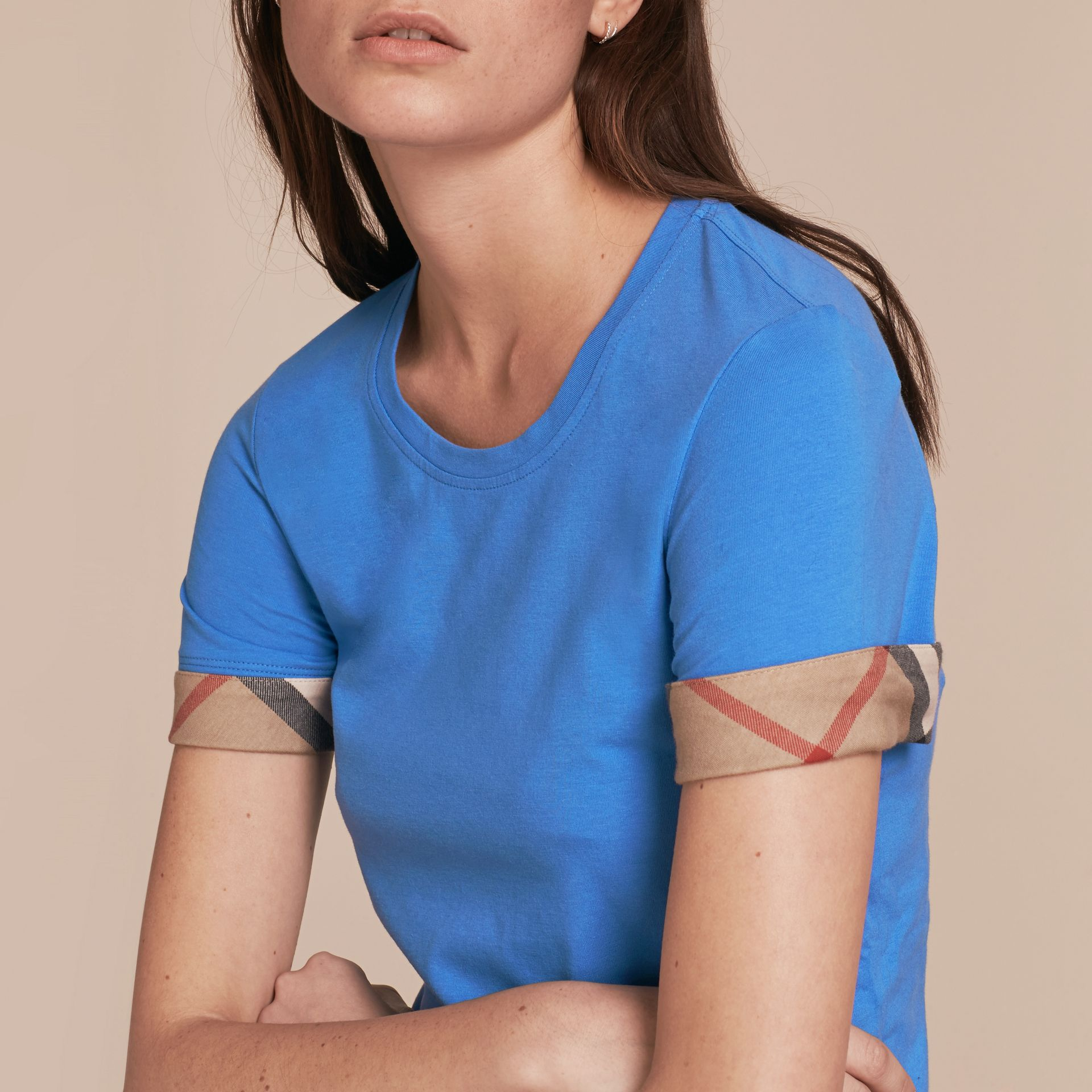 Check Trim Stretch Cotton T-shirt in Bright Hydrangea Blue - gallery image 5