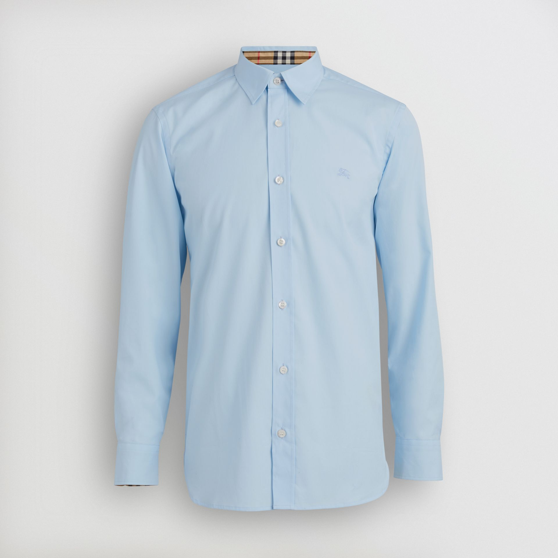 Stretch Cotton Poplin Shirt in Pale Blue - Men | Burberry - gallery image 3