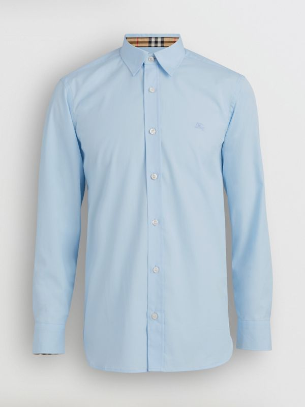 Stretch Cotton Poplin Shirt in Pale Blue - Men | Burberry Australia - cell image 3