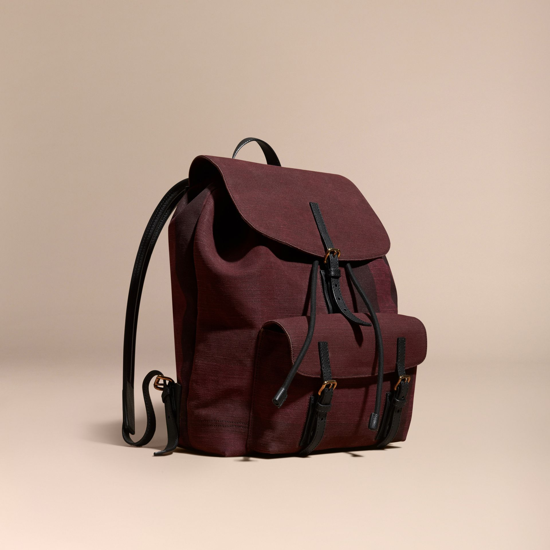 Claret Overdyed Canvas Check Backpack Claret - gallery image 1