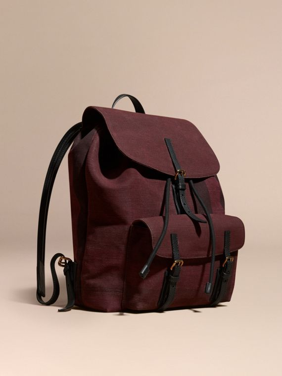 Overdyed Canvas Check Backpack Claret