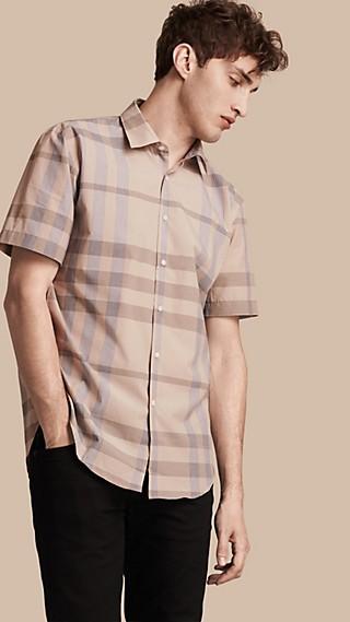 Short-sleeved Check Cotton Shirt