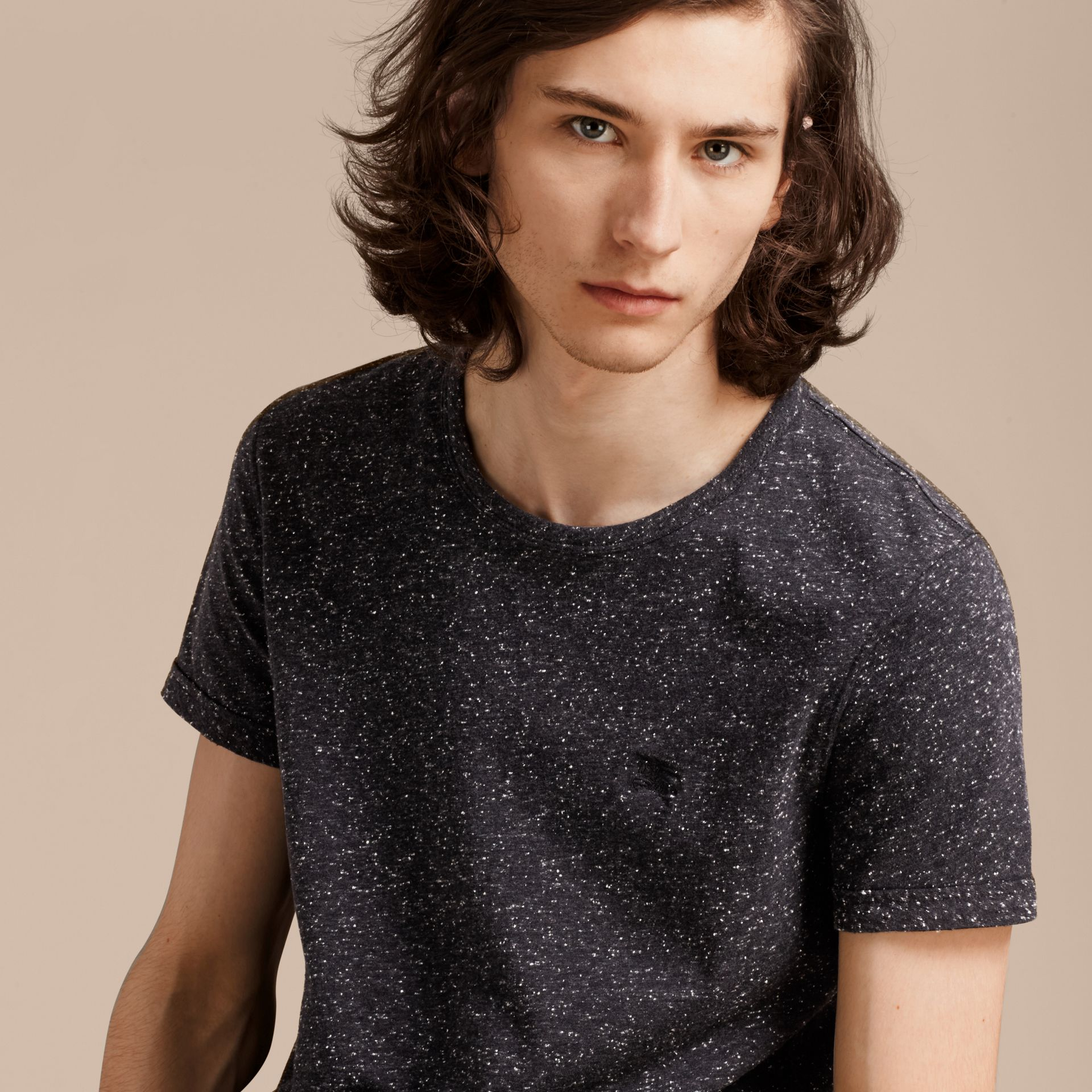 Black Crew Neck Flecked Cotton Jersey T-Shirt Black - gallery image 5