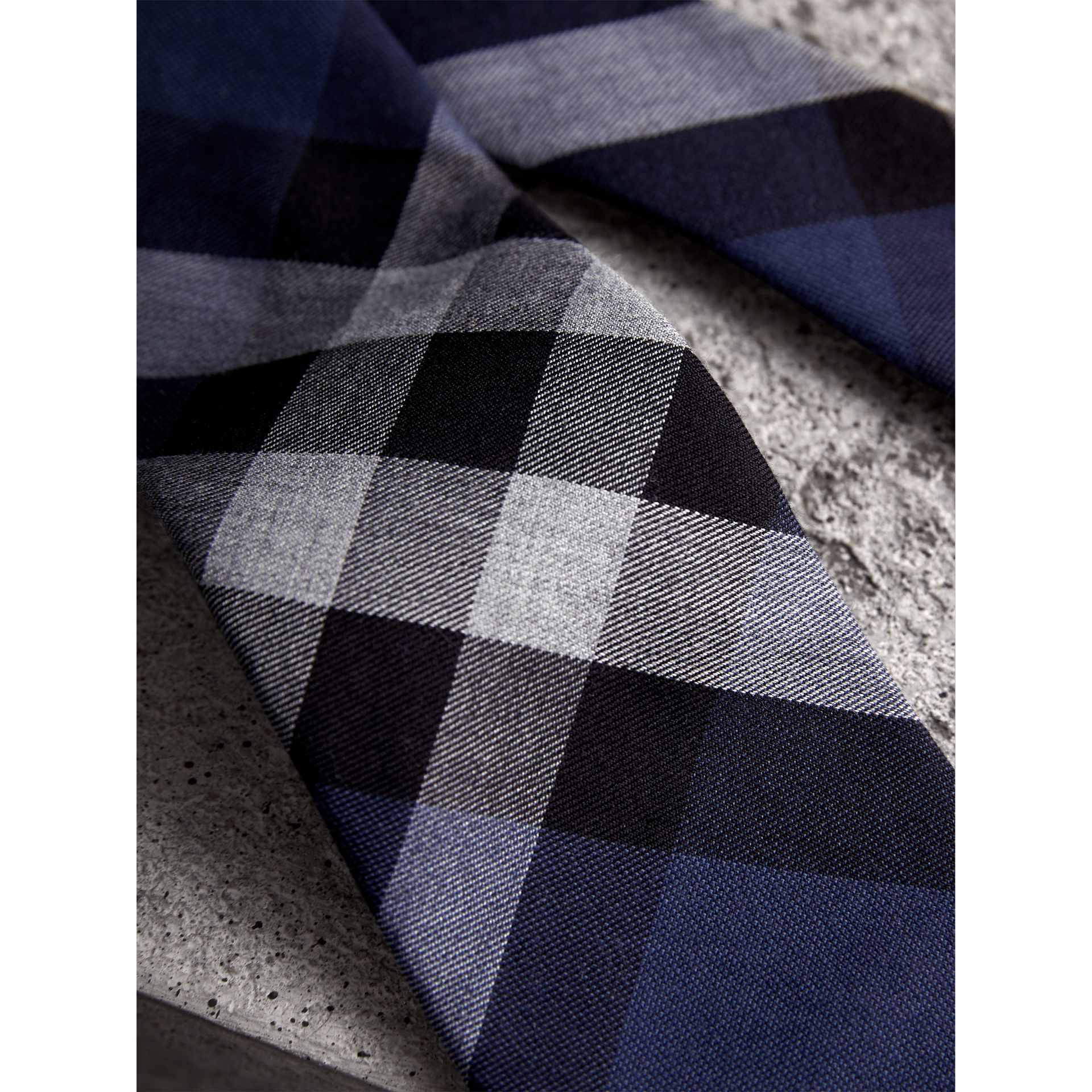 Modern Cut Check Cotton Cashmere Tie in Canvas Blue - Men | Burberry United Kingdom - gallery image 1