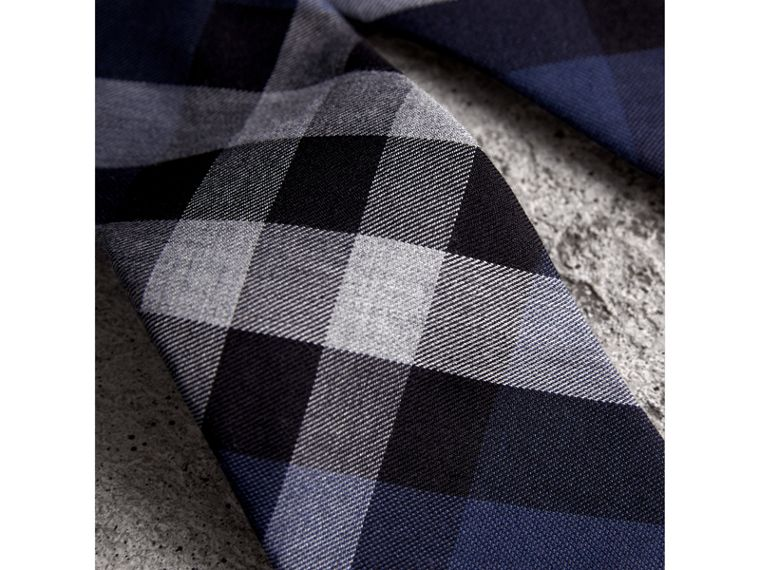 Modern Cut Check Cotton Cashmere Tie in Canvas Blue - Men | Burberry Australia - cell image 1
