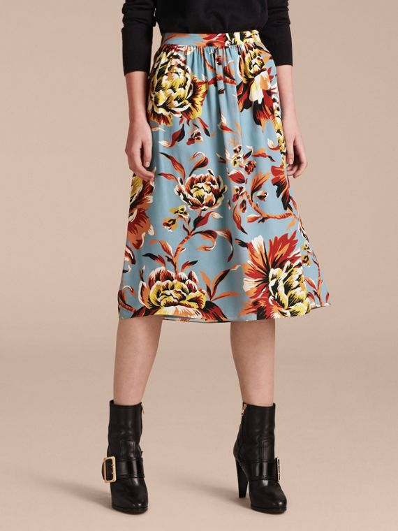 Peony Rose Print Silk Skirt - Women | Burberry