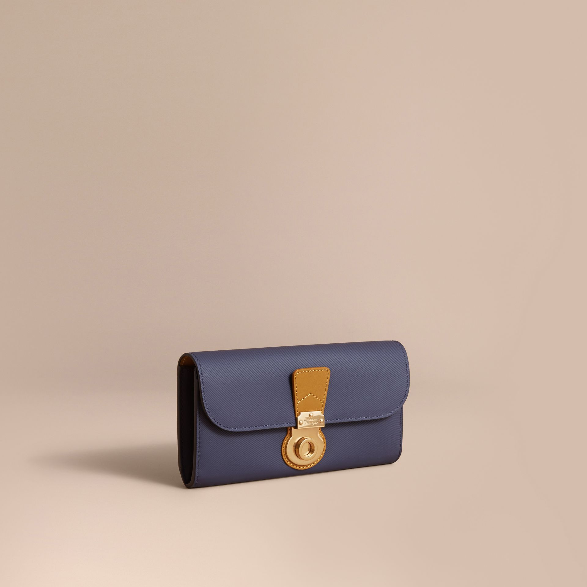 Two-tone Trench Leather Continental Wallet in Ink Blue/ochre Yellow - Women | Burberry - gallery image 1