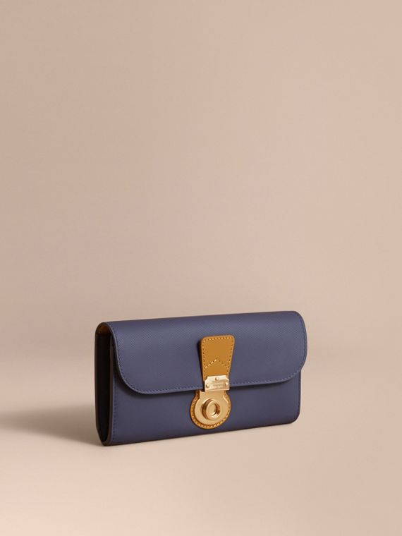 Two-tone Trench Leather Continental Wallet in Ink Blue/ochre Yellow - Women | Burberry Australia