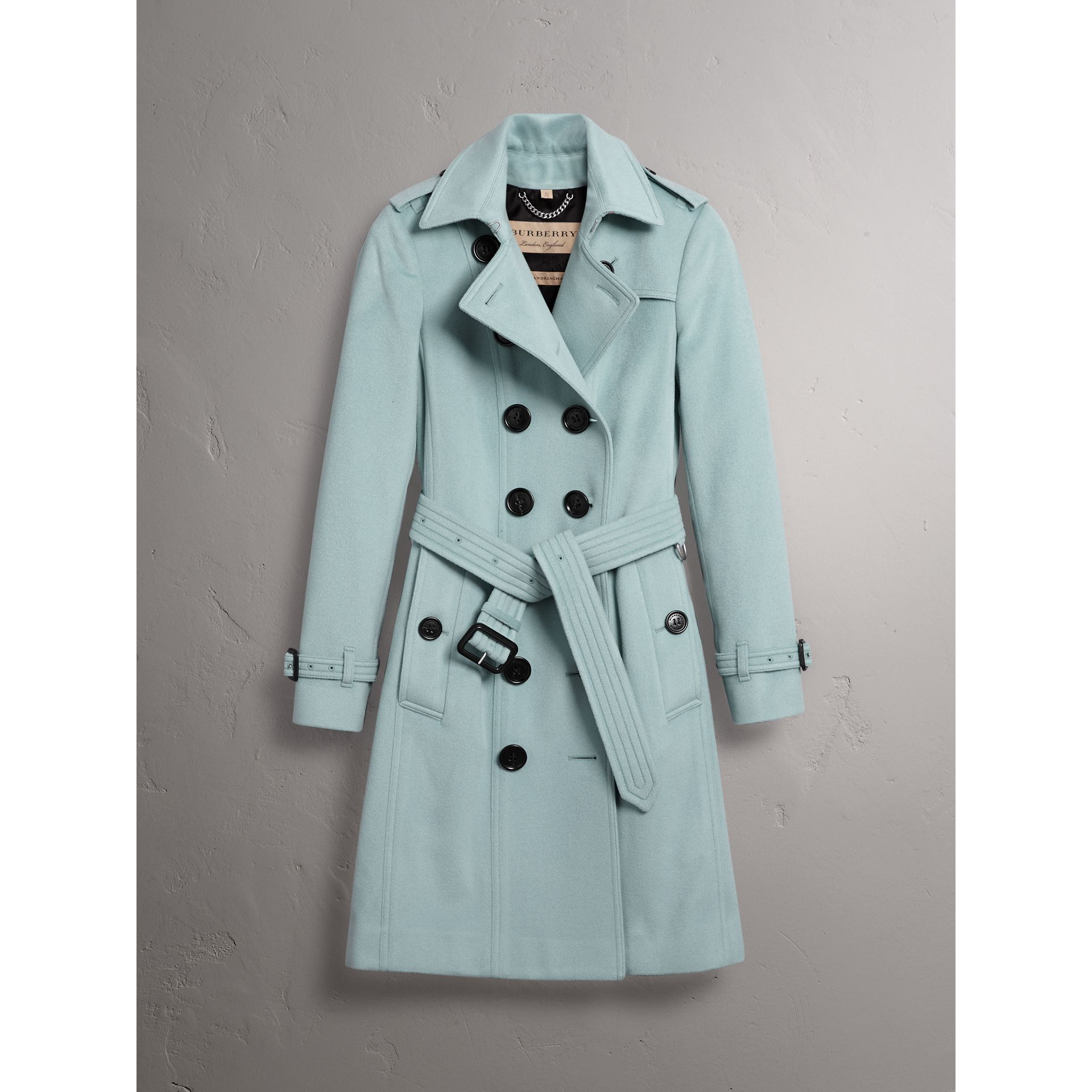Sandringham Fit Cashmere Trench Coat in Pale Mineral Blue - Women | Burberry Hong Kong - gallery image 4