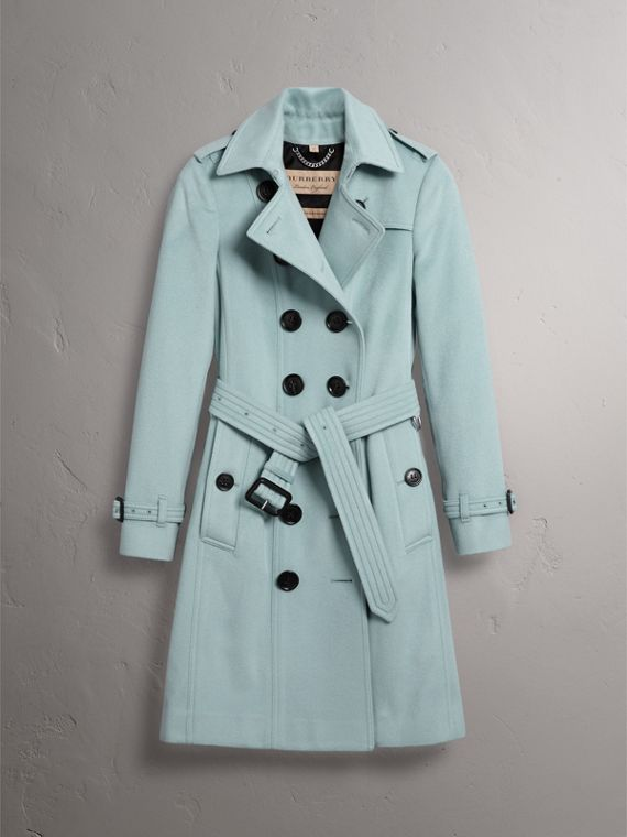 Sandringham Fit Cashmere Trench Coat in Pale Mineral Blue - Women | Burberry - cell image 3