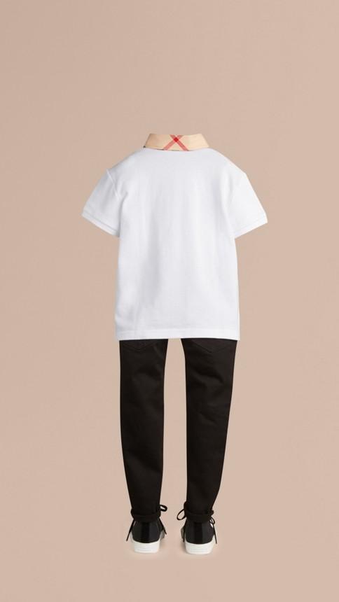 Blanc Polo avec col à motif check Blanc - Image 3