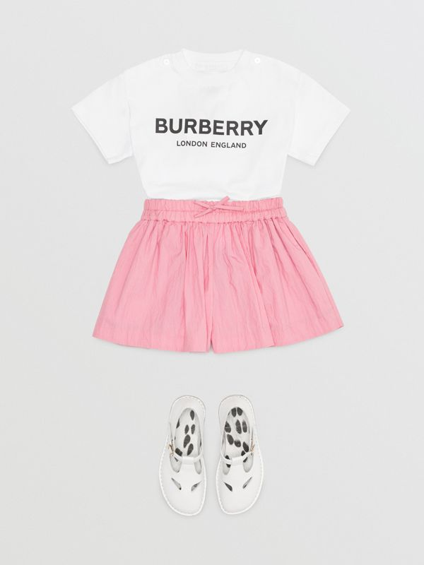 Logo Print Cotton T-shirt in White - Children | Burberry - cell image 2