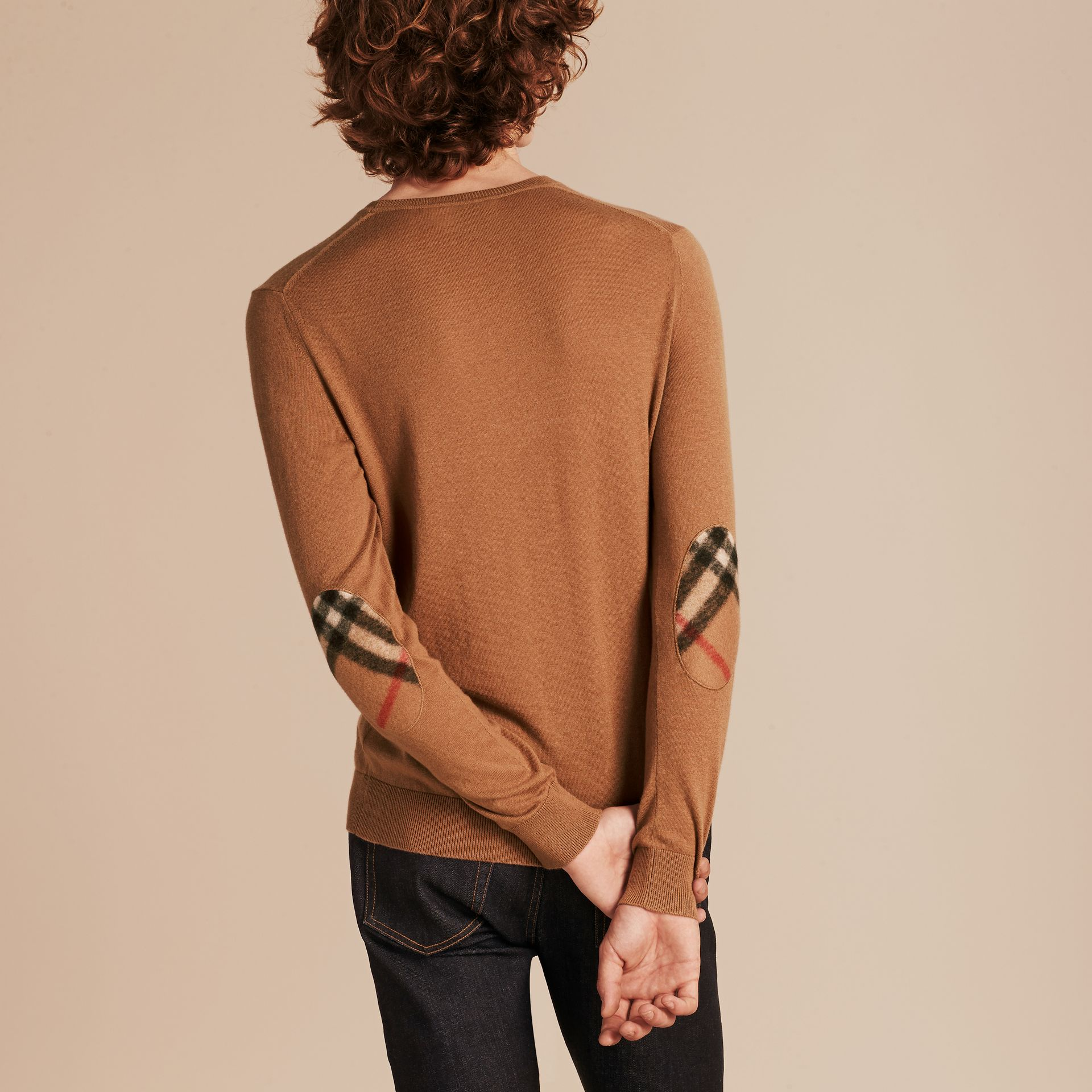 Check Trim Cashmere Cotton Sweater Camel - gallery image 3