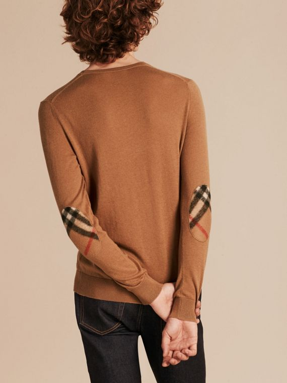 Check Trim Cashmere Cotton Sweater Camel - cell image 2