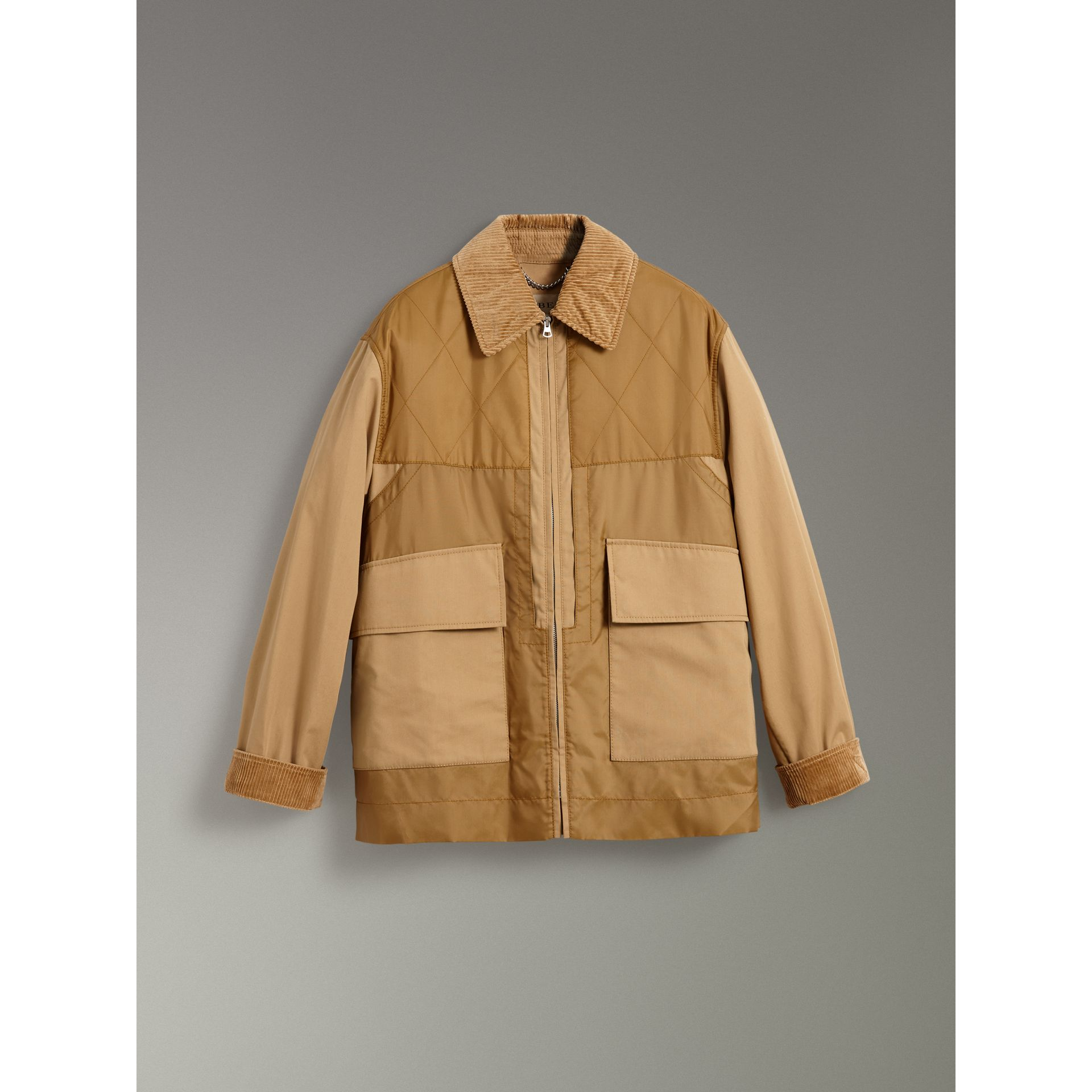 Quilted Panel Cotton Blend Jacket in Camel - Women | Burberry - gallery image 3