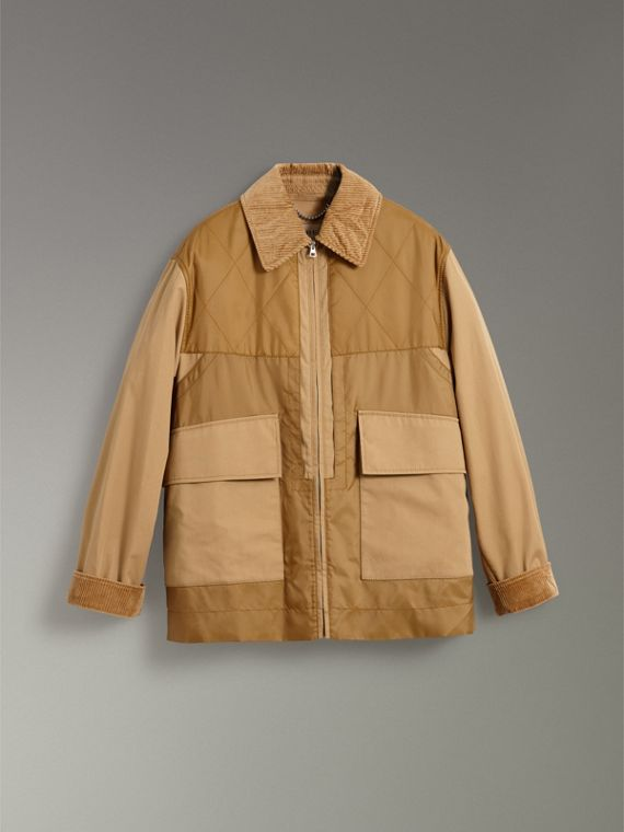 Quilted Panel Cotton Blend Jacket in Camel - Women | Burberry - cell image 3