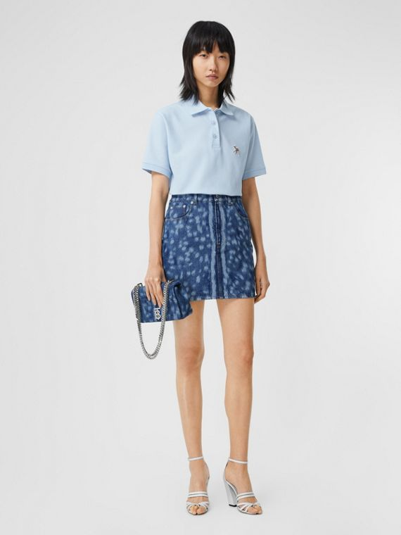 Camisa polo oversize de algodão piquê com cervo bordado (Azul Claro)