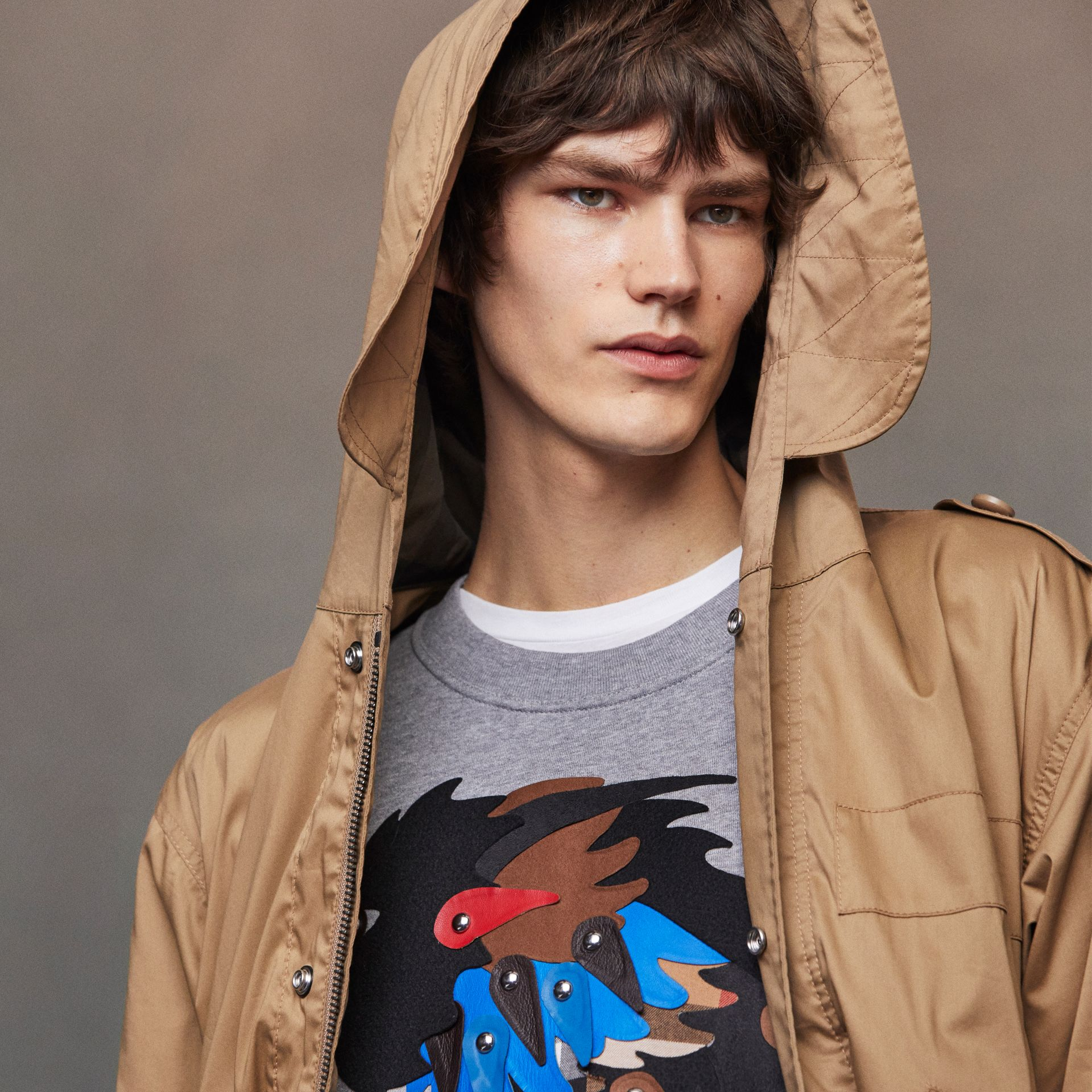Unisex Beasts Leather Appliqué Cotton Sweatshirt in Pale Grey Melange - Men | Burberry - gallery image 5