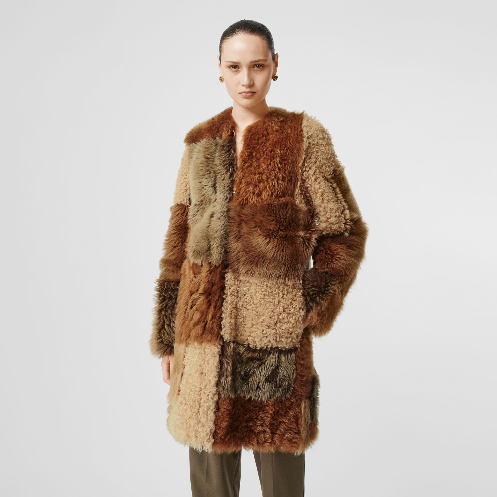 Patchwork Shearling Coat in Toffee - Women | Burberry - gallery image 6