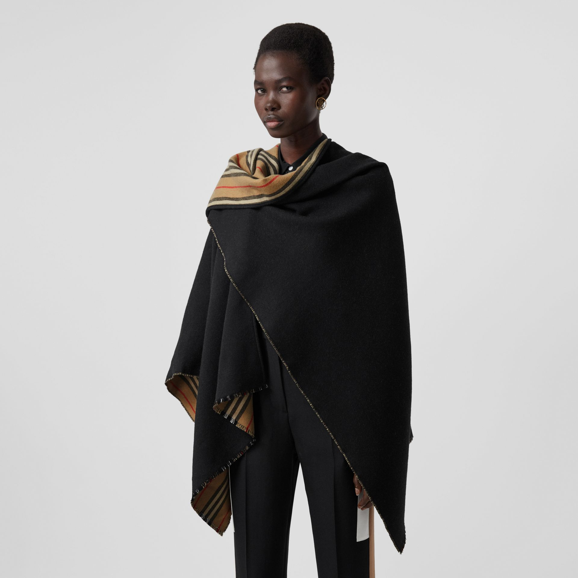 Icon Stripe Detail Wool Cape in Black - Women | Burberry - gallery image 4